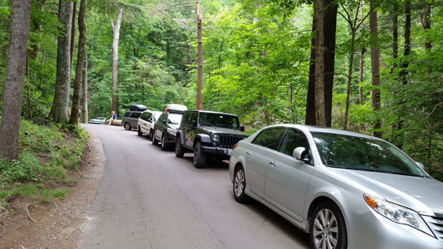 Illegally Parked Cars | Rainbow Falls Trailhead | Great Smoky Mountains National Park