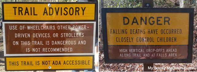 Laurel Falls Trail Warning Signs