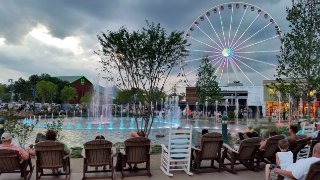 The Island at Pigeon Forge | Fountain and Rocking Chairs