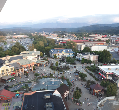 View of The Island in Pigeon Forge from atop the Great Smoky Mountain Wheel
