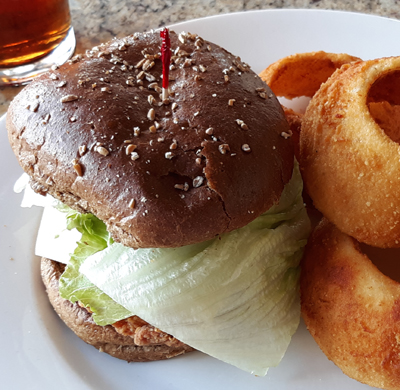Fried Chicken Sandwich with Onion Rings | Holston's Kitchen Sevierville, TN