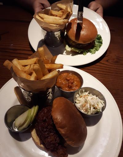 Hamburger and Pulled Pork BBQ Sandwiches at Hard Rock Café